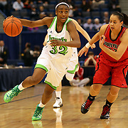 Jewell Loyd, Notre Dame, in action against Shoni Schimmel. Louisville, (right), during the Notre Dame Fighting Irish V Louisville Cardinals Semi Final match during the Big East Conference, 2013 Women's Basketball Championships at the XL Center, Hartford, Connecticut, USA. 11th March. Photo Tim Clayton
