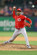 March 26, 2018 - Arlington, TX, U.S. - ARLINGTON, TX - MARCH 26: Cincinnati Reds relief pitcher Raisel Iglesias (26) comes on to pitch during the exhibition game between the Cincinnati Reds and Texas Rangers on March 26, 2018 at Globe Life Park in Arlington, TX. (Photo by Andrew Dieb/Icon Sportswire) (Credit Image: © Andrew Dieb/Icon SMI via ZUMA Press)