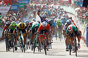 Arrival sprint Elia Viviani (ITA - QuickStep - Floors), Peter Sagan (SVK - Bora - Hansgrohe), Giacomo Nizzolo (ITA - Trek - Segafredo) during the 73th Edition Tour of Spain, Vuelta Espana 2018, stage 10 cycling race, Salamanca - Fermoselle Bermillo de Sayago 177 km on September 4, 2018 in Spain - Photo Luca Bettini / BettiniPhoto / ProSportsImages / DPPI