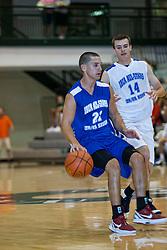 23 June 2012: J.J. Cravatta and Tyler Sutton.  Illinois Basketball Coaches Association (IBCA) All Star game at Shirk Center, Illinois Wesleyan, Bloomington, IL
