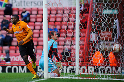 Bristol City Goalkeeper Thomas Heaton (ENG) watches the ball in the back of the net as Wolves Forward Sylvan Ebanks-Blake (ENG) celebrates his sides goal during the first half of the match - Photo mandatory by-line: Rogan Thomson/JMP - Tel: Mobile: 07966 386802 01/12/2012 - SPORT - FOOTBALL - Ashton Gate - Bristol. Bristol City v Wolverhampton Wanderers - npower Championship.