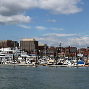 View of Portland, Maine, USA waterfront from the harbor.