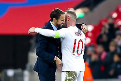England Head Coach Gareth Southgate hugs Wayne Rooney of England - Mandatory by-line: Robbie Stephenson/JMP - 15/11/2018 - FOOTBALL - Wembley Stadium - London, England - England v United States of America - International Friendly