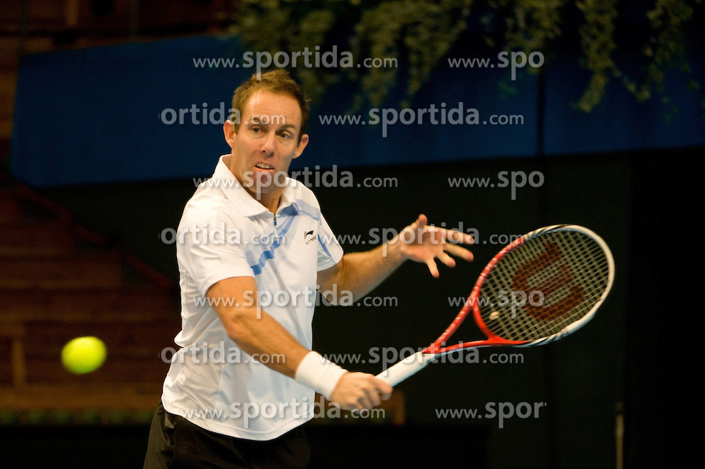 19.10.2012, Kungliga Tennis Halle, Stockholm, SWE, ATP, Stockholm Open, im Bild Doubles Robert Lindstedt (SWE)/ Nenad Zimonjic (SRB) vs Eric Butorac (USA)/ Paul Hanley (AUS) : Paul Hanley is here playing a backhand, // during the ATP Stockholm Open at the Kungliga Tennis Halls, Stockholm, Sweden on 2012/10/19. EXPA Pictures © 2012, PhotoCredit: EXPA/ PicAgency Skycam/ ATTENTION - OUT OF SWE *****