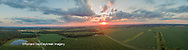 63893-03502 Sunset in rural Illinois - panoramic aerial - Marion Co. IL