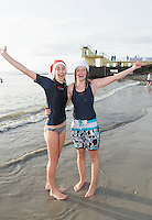 25/12/2015 Ruth Taylor and Orla Gill Salthill Galway taking part in the COPE annual Christmas Day swim  . Photo:Andrew Downes