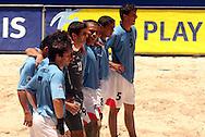 Football - FIFA Beach Soccer World Cup 2006 - Group C - CMR X URU  - Rio de Janeiro - Brazil 06/11/2006<br />Uruguay team reacts after lose the penalty disputs - Event Title Board Mandatory Credit: FIFA / Ricardo Moraes