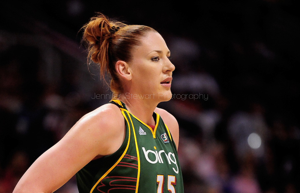 Aug 20, 2010; Phoenix, AZ, USA; Seattle Storm forward Lauren Jackson (15) reacts on the court against the Phoenix Mercury at US Airways Center. The Storm defeated the Mercury 78-73.  Mandatory Credit: Jennifer Stewart-US PRESSWIRE