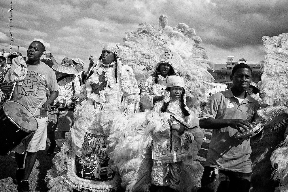 Wild Mohicans Mardi Gras Indians parade at the 2011 New Orleans Jazz & Heritage Festival at the Fair Grounds Race Course in New Orleans, LA. USA.