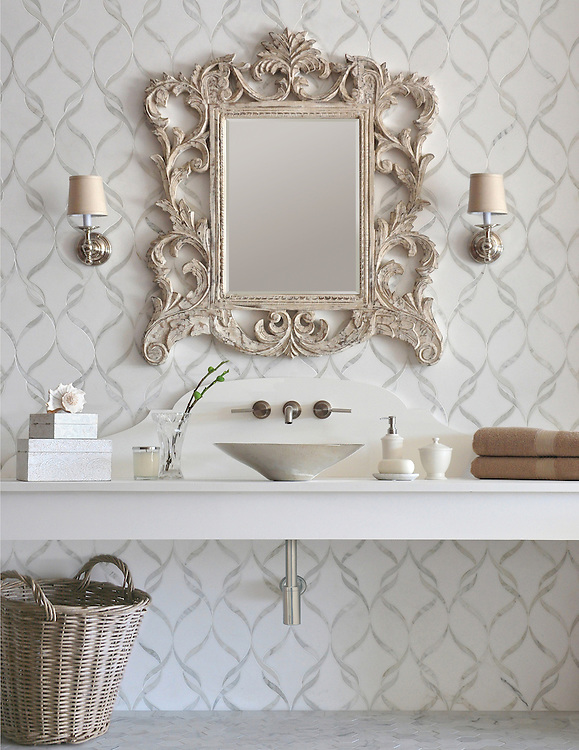 Sophie, a waterjet stone mosaic shown in polished Calacatta Tia and honed Thassos, is part of the Silk Road® collection by New Ravenna.