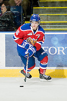 KELOWNA, CANADA, FEBRUARY 15: TJ Foster #16 of the Edmonton OIl Kings skates with the puck at the Kelowna Rockets on February 15, 2012 at Prospera Place in Kelowna, British Columbia, Canada (Photo by Marissa Baecker/Shoot the Breeze) *** Local Caption ***
