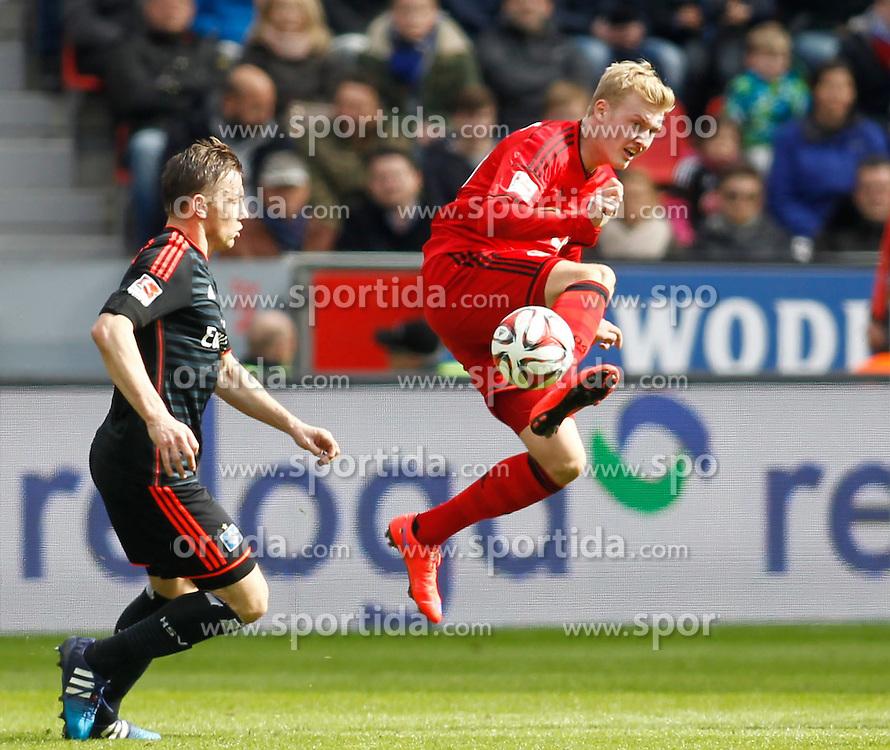 04.04.2015, BayArena, Leverkusen, GER, 1. FBL, Bayer 04 Leverkusen vs Hamburger SV, 27. Runde, im Bild Ivica Olic (Hamburger SV #8) und Julian Brandt (Bayer 04 Leverkusen #19) // during the German Bundesliga 27th round match between Bayer 04 Leverkusen and Hamburger SV at the BayArena in Leverkusen, Germany on 2015/04/04. EXPA Pictures &copy; 2015, PhotoCredit: EXPA/ Eibner-Pressefoto/ Sch&uuml;ler<br /> <br /> *****ATTENTION - OUT of GER*****