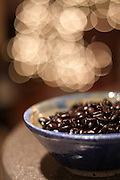 Bowl of Mexican Chiapas coffee beans.