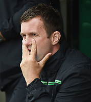 04/07/15 PRE-SEASON FRIENDLY<br /> CELTIC V DUKLA PRAGUE<br /> ST MIRREN PARK - PAISLEY<br /> A dejected Ronny Deila looks on from the dugout