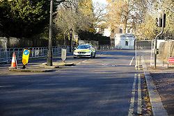 © Licensed to London News Pictures. 02/12/2019. London, UK. A police car near Winfield House which is an official residence of the United States Ambassador in Regents Park where President of the United States, DONALD TRUMP will stay during NATO (The North Atlantic Treaty Organisation) summit in London. Photo credit: Dinendra Haria/LNP