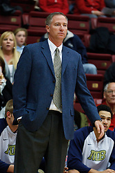 November 10, 2010; Stanford, CA, USA;  Cal State Monterey Bay Otters head coach Rob Bishop on the bench against the Stanford Cardinal during the first half at Maples Pavilion.  The Cardinal defeated the Otters 87-56.