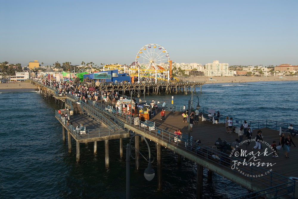Crowds on the Santa Monica Pier, Santa Monica Beach, Los Angeles, California