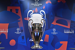 NYON, SWITZERLAND - Monday, December 17, 2018: The European Cup trophy on display during the UEFA Champions League 2018/19 Round of 16 draw at the UEFA House of European Football. (Handout by UEFA)