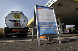 © Licensed to London News Pictures. 30/03/2012. Morrisons petrol station in Hastings town Centre, East Sussex which has run out of unleaded petrol on March 30, 2012. Photo credit : Grant Falvey/LNP