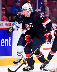 Brandon Carlo of the Tri-City Americans represented Team USA at the 2015 World Junior Championships in Montreal. Photo by Aaron Bell/CHL Images. Photo for editorial use only.