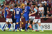 The Aston Villa players  and The Everton players  come together after a foul during the Premier League match between Aston Villa and Everton at Villa Park, Birmingham, England on 23 August 2019.