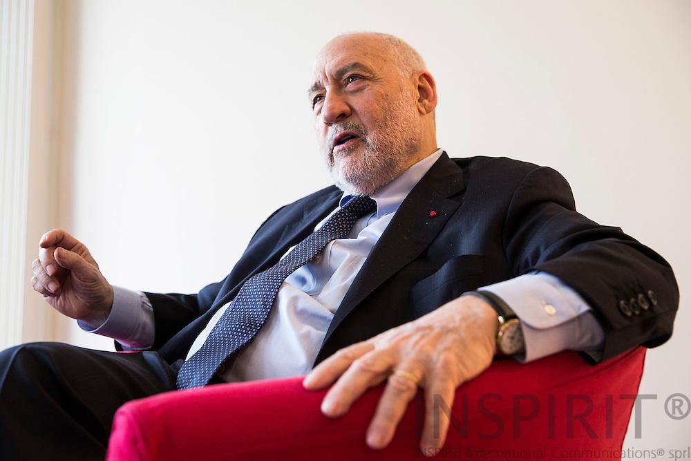 Joseph Eugene Stiglitz, American economist professor at Columbia University and winner of Nobel Memorial Prize in Economic Sciences during an interview at Royal Albert Hall in Brussels 14 April 2016. Photo: Erik Luntang