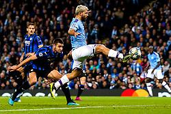 Sergio Aguero of Manchester City scores a goal to make it 1-1 - Mandatory by-line: Robbie Stephenson/JMP - 22/10/2019 - FOOTBALL - Etihad Stadium - Manchester, England - Manchester City v Atalanta - UEFA Champions League Group Stage