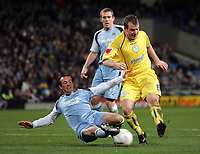 Photo: Paul Thomas.<br /> Manchester City v Sheffield Wednesday. The FA Cup. 16/01/2007.<br /> <br /> Glenn Whelan of Wednesday has his shot blocked by Stephen Ireland (L) of Man City.
