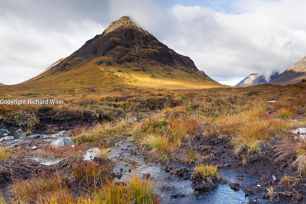View of Stob Dearg, the most northeasterly peak of Buachaille Etive Mor, with a bog as foreground interest.