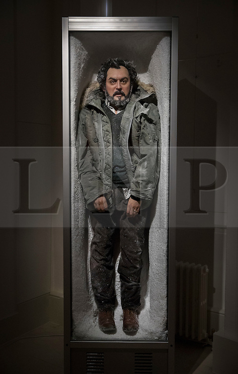 © Licensed to London News Pictures.  The Second Law by Paul Fryer at the exhibition Daydreaming with Stanley Kubrick in partnership with Canon at Somerset House in London. The work is of a realistic waxwork figure depicting Stanley Kubrick in a glass fronted freezer covered in ice and snow in reference to the final scene of The Shining.  The show opens on July 6, 2016 and runs until August 24, 2016.  The exhibition features 50 works inspired by the legendary film director from a host of contemporary artists, musicians and filmmakers. London, UK.   Photo credit: Peter Macdiarmid/LNP