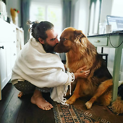 """Russell Brand releases a photo on Twitter with the following caption: """"""""Bear 💖💞"""""""". Photo Credit: Twitter *** No USA Distribution *** For Editorial Use Only *** Not to be Published in Books or Photo Books ***  Please note: Fees charged by the agency are for the agency's services only, and do not, nor are they intended to, convey to the user any ownership of Copyright or License in the material. The agency does not claim any ownership including but not limited to Copyright or License in the attached material. By publishing this material you expressly agree to indemnify and to hold the agency and its directors, shareholders and employees harmless from any loss, claims, damages, demands, expenses (including legal fees), or any causes of action or allegation against the agency arising out of or connected in any way with publication of the material."""