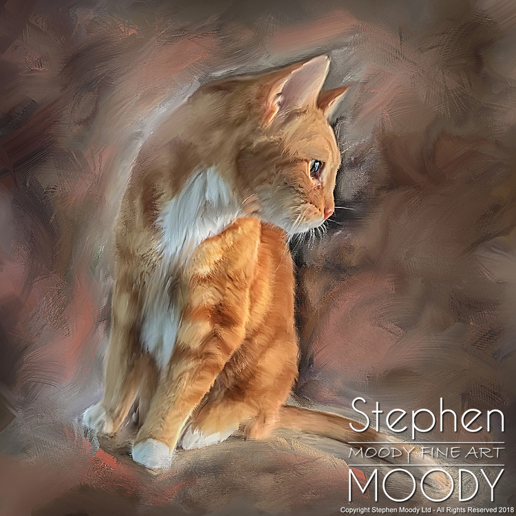Cats have 9 lives - artist Stephen Moody will take your photo of your pet who has passed on and create a mixed media portrait on watercolor paper for you to remember them by.