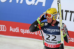 11.02.2013, Planai, Schladming, AUT, FIS Weltmeisterschaften Ski Alpin, Super Kombination, Abfahrt,  Herren, im Bild Ivica Kostelic (CRO) // Ivica Kostelic of Croatia reacts after his run of Mens Super Combined Downhill at the FIS Ski World Championships 2013 at the Planai Course, Schladming, Austria on 2013/02/11. EXPA Pictures © 2013, PhotoCredit: EXPA/ Martin Huber