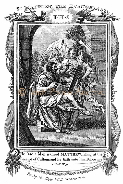 St Matthew the Evangelist being called from his work as a tax gatherer.  Bible: Matthew 9.8  Copperplate engraving c1808