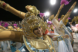 """A dancer of """"Tom Maior"""" performs during the first night of samba schools carnival parade at Anhembi Sambadrome in Sao Paulo, Brazil, on Feb. 14, 2015. EXPA Pictures © 2015, PhotoCredit: EXPA/ Photoshot/ [e]Rahel Patrasso<br /> <br /> *****ATTENTION - for AUT, SLO, CRO, SRB, BIH, MAZ only*****"""