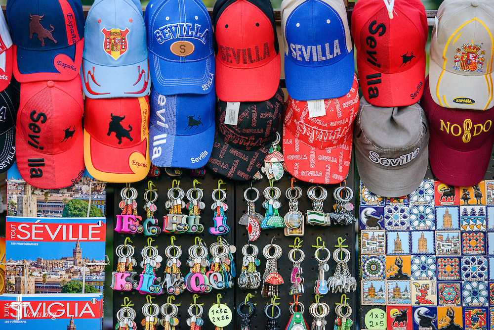 Tourist goods for sale outside the Plaza de España on Sunday, Nov. 6, 2016, in Seville, Spain.  LCMS Communications/Erik M. Lunsford