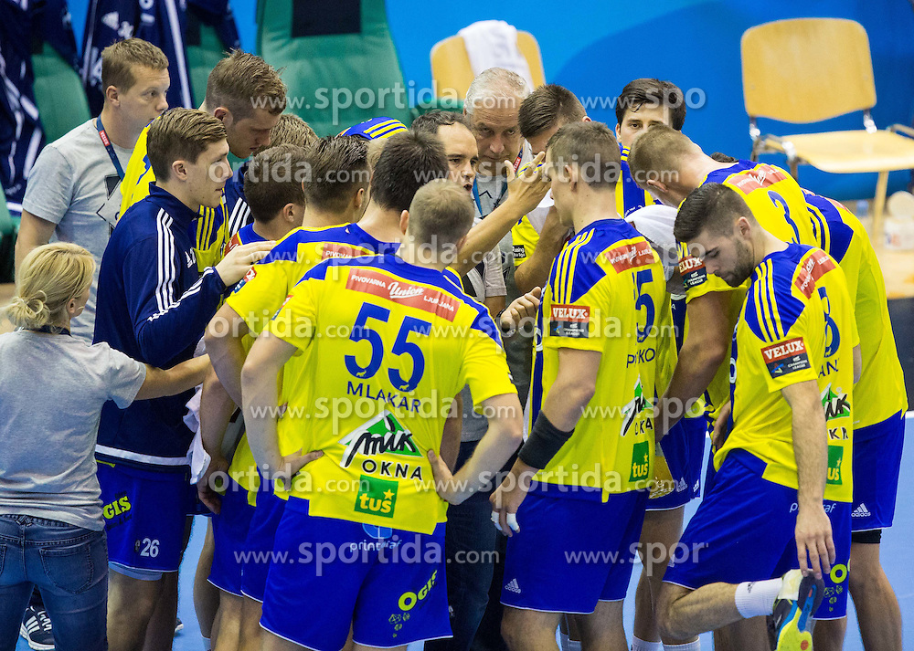 Branko Tamse, head coach of RK Celje PL with his players during handball match between RK Celje Pivovarna Lasko and RK Zagreb in Round #2 of Group Phase of EHF Champions League 2015/16, on September 26, 2015 in Arena Zlatorog, Celje, Slovenia. Photo by Vid Ponikvar / Sportida