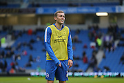 Brighton striker (on loan from Manchester United), James Wilson (21) during the warm up before the Sky Bet Championship match between Brighton and Hove Albion and Birmingham City at the American Express Community Stadium, Brighton and Hove, England on 28 November 2015.