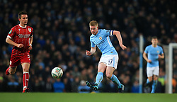 Kevin De Bruyne of Manchester City and Joe Bryan of Bristol City - Mandatory by-line: Matt McNulty/JMP - 09/01/2018 - FOOTBALL - Etihad Stadium - Manchester, England - Manchester City v Bristol City - Carabao Cup Semi-Final First Leg