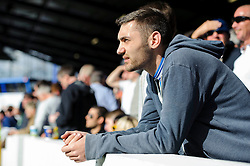 A Bristol Rovers fan looks on nervously with his side losing 3-2 - Photo mandatory by-line: Rogan Thomson/JMP - 07966 386802 - 19/04/2014 - SPORT - FOOTBALL - Fratton Park, Portsmouth - Portsmouth FC v Bristol Rovers - Sky Bet Football League 2.