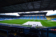 A general view of Elland Road with a patch of rain covers on during the EFL Sky Bet Championship match between Leeds United and Bristol City at Elland Road, Leeds, England on 15 February 2020.