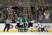 DALLAS, TX - OCTOBER 17:  The Dallas Stars celebrate after scoring a goal against the San Jose Sharks on October 17, 2013 at the American Airlines Center in Dallas, Texas.  (Photo by Cooper Neill/Getty Images) *** Local Caption ***
