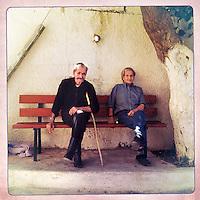 Kreta, Kroustas , 23 juli 2013.<br /> <br /> Oude bewoners van het bergdorpje Kroustas even ten Zuiden van Kritsa in het Noord Oosten van Kreta.<br /> Summer holiday on the Greek island of Crete. Some locals.