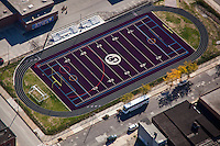 Baltimore aerial Image of City Springs Elementary School athletic field by Jeffrey Sauers of Commercial Photographics, Architectural Photo Artistry in Washington DC, Virginia to Florida and PA to New England