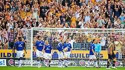 HULL, ENGLAND - Sunday, September 21, 2008: Everton's players look dejected as Hull City celebrate their second goal during the Premiership match at the KC Stadium. L-R: Joseph Yobo, Marouane Fellaini, Leon Osman, Phil Neville, Phil Jagielka, Tim Cahill and goalkeeper Tim Howard. (Photo by David Rawcliffe/Propaganda)