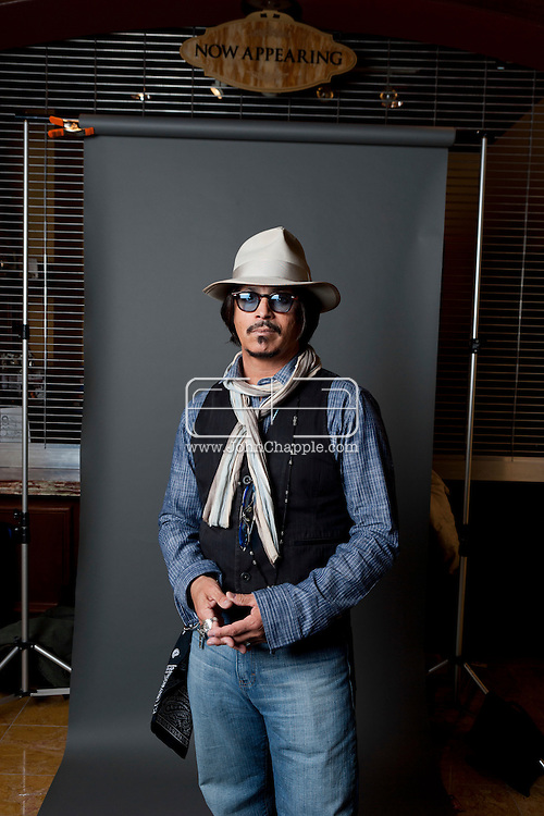 February 20th, 2012, Las Vegas, Nevada. The 21st Annual Reel Awards in Las Vegas where celebrity lookalikes show off their talents. Pictured is Ronnie Rodriguez as Johnny Depp..PHOTO © JOHN CHAPPLE / www.johnchapple.com.