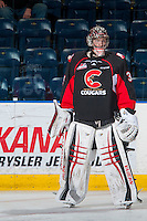 KELOWNA, CANADA - FEBRUARY 18: Ty Edmonds #35 of the Prince George Cougars stands on the ice during warm up against the Kelowna Rockets on February 18, 2017 at Prospera Place in Kelowna, British Columbia, Canada.  (Photo by Marissa Baecker/Shoot the Breeze)  *** Local Caption ***