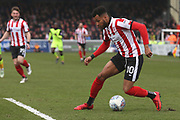 Lincoln City forward Matt Green (10) on the ball  during the EFL Sky Bet League 2 match between Lincoln City and Exeter City at Sincil Bank, Lincoln, United Kingdom on 30 March 2018. Picture by Mick Atkins.