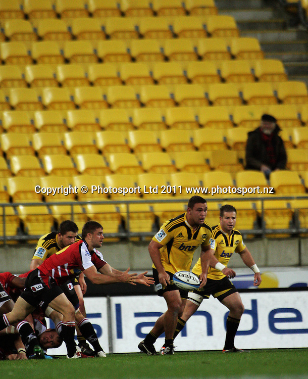 Lions halfback Rory Kockott passes from a ruck. Super 15 rugby match - Hurricanes v Lions at Westpac Stadium, Wellington, New Zealand on Saturday, 4 June 2011. Photo: Dave Lintott / photosport.co.nz