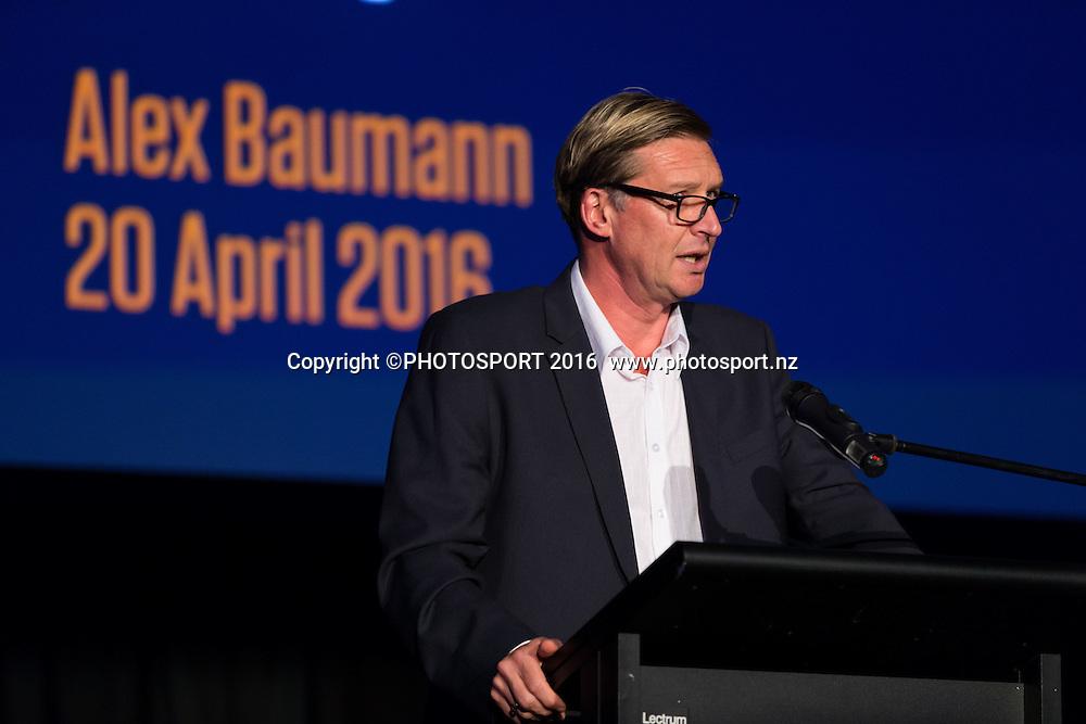 Alex Baumann, CE of HPSNZ at the High Performance Sport NZ Waikato ceremony for the Prime Minister's Scholarship Awards, at Sir Don Rowlands Centre, Lake Karapiro, Cambridge, New Zealand, 20 April 2016. Copyright Photo: Stephen Barker / www.photosport.nz